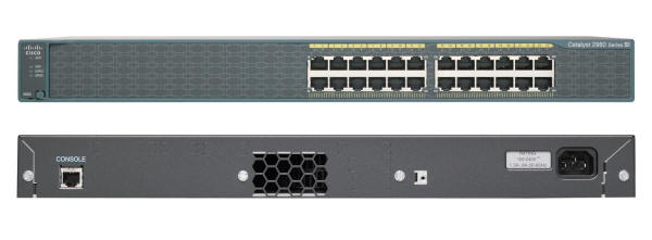 Cisco Catalyst 2960-24-S Switch Front and Back